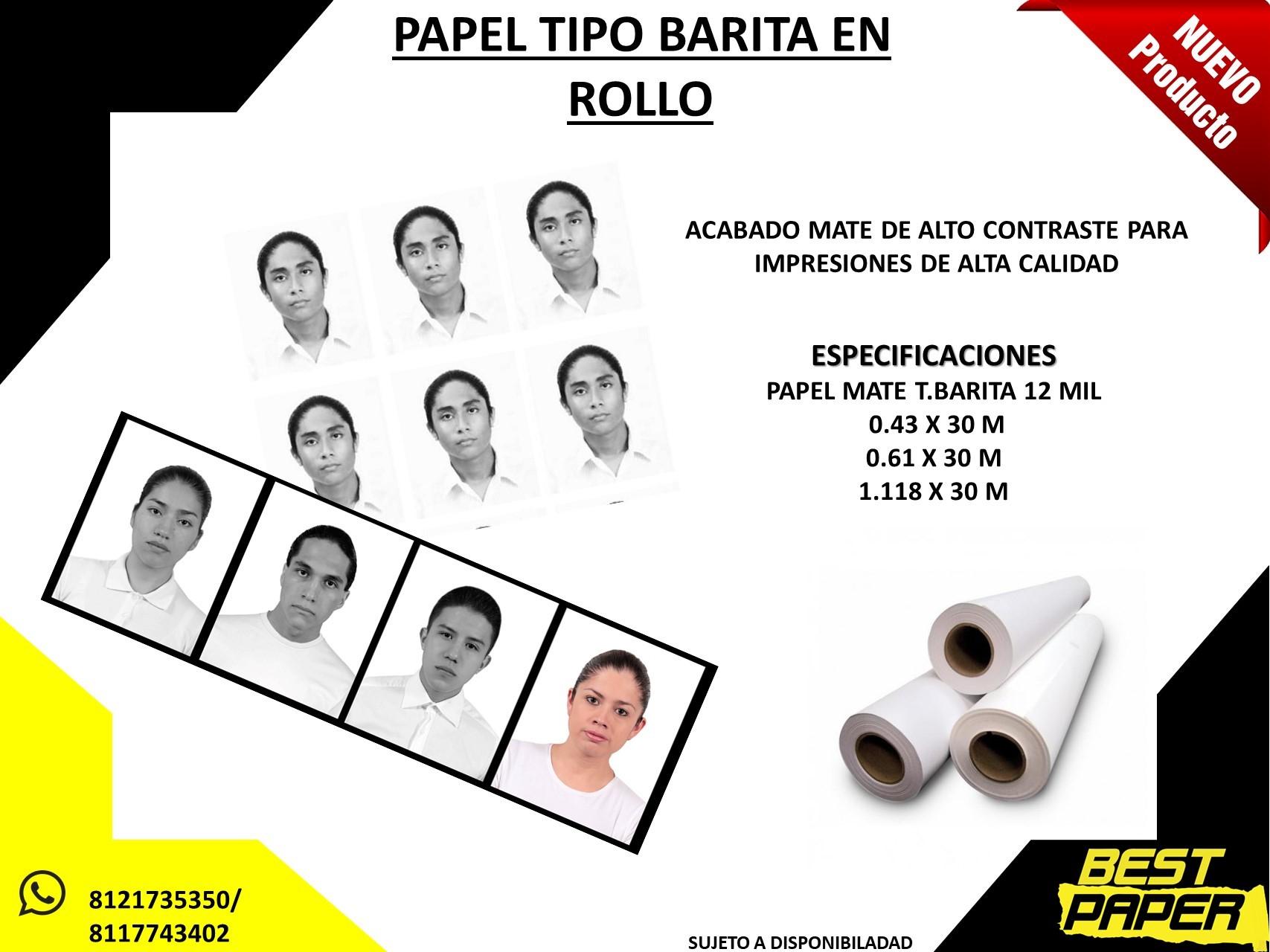 ROLLO PAPEL TIPO BARITA